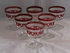 SET 6 COLONY PRESSED GLASS Park lane -Ruby Flash Champagne Tall Sherbets