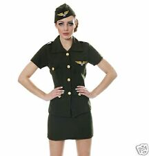 Ladies Army Pilot Aviator Military Uniform Fancy Dress Costume Adult Small 8-10