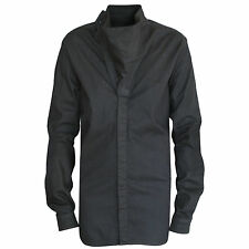 RICK OWENS DRKSHDW $550 black mineral overdyed Island long duster shirt S NEW