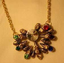 Sparkling Textured Spiky Colorful Rhinestone Clustered Goldtone Pendant Necklace