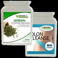 60 GREEN COFFEE BEAN EXTRACT & 60 DETOX COLON CLEANSE WEIGHT LOSS DIET PILLS