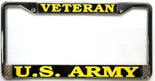 U.S. Army Veteran Auto License Plate Chrome Frame Metal USA New