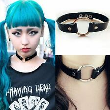 Goth Punk Enchanting Leather Collor Rivet O-Ring Choker Collar Necklace 100173BK