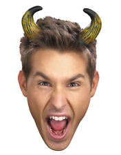Adults Mens Womens Devil Demon Costume Accessory Short Bent Tan Horns Headband