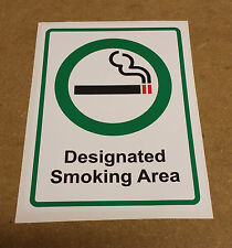 SMOKING Designated Area A5 147mm x 210mm Premises Shop Office Warehouse Legal