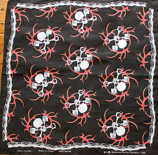 "New Biker Red Skulls Bandana Rebel 22"" X 22"" Durag Skull Handkerchief"