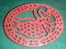 Metal Trivet Red Duck Swan Christmas Holly Hot Pot Holder Kitchen , Cast Iron