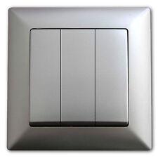 3 er Serienschalter Schalter Lichtschalter Einschalter Ausschalter Silber NEU
