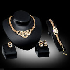 Crystal Jewelry Earring Gold Necklace Plated Bridal Fashion Women Alloy