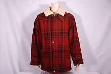 Vintage WIND RIVER red black buffalo sherpa lined wool thick Mens jacket coat XL