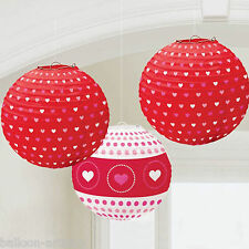 3 Valentine's Day Red Heart Party 24cm Hanging Paper Ball Lanterns Decorations
