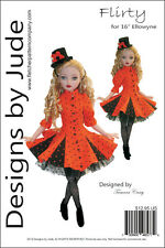 "Flirty Doll Clothes Sewing Pattern for 16"" Ellowyne Wilde Doll Tonner"