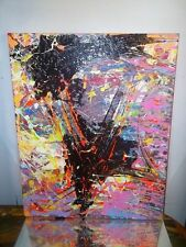 GRAFFITI ABSTRACT CANVAS PAINTING BY MUSK YAI 16X20 ooak 357 jackson pollock~