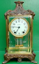 ART-DECO SETH THOMAS ORNATE 8 DAY FOUR GLASS CRYSTAL REGULATOR MANTLE CLOCK