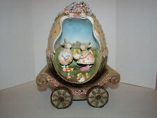 Easter Bunnies in Eggshell Carriage - Ceramic - Used