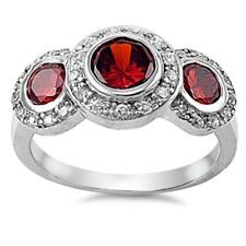 USA Seller Three-Stone Garnet Ring Sterling Silver 925 Best Deal Jewelry Size 6