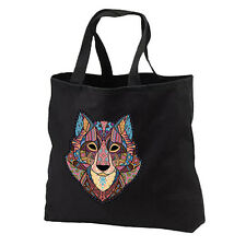 Mosaic Wolf New Black Cotton Tote Bag Gifts Events Travel Shop Books