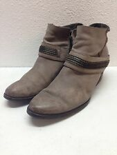 Paul Green Gray Leather Zipper Ankle Boots Women's Size 7 UK 9.5 US