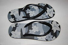 WOMENS FLIP FLOPS 8 Envision Studio RUBBER STRAP Gray CAMOUFLAGE Flowers