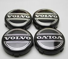 VOLVO BLACK CENTRE CAPS X 4 SET TYRE ALLOYS 64mm C30 C70 S40 S60 V50 V60 V70 S80