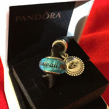NEW! 2 PC AUTH PANDORA HAWAII HUMU FISH DANGLE CHARM & BLUE S925 ALE MURANO SET