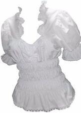 Blusen Damen Tuniken Damenblusen Freizeitblusen Rüschen Hochzeitsblusen Weiß 44