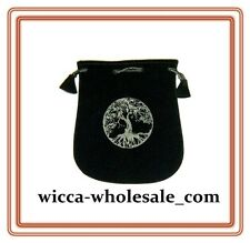 "Black Velvet Bag / Pouch 5"" x 5"": Tree of Life (Wicca Talisman Drawstring) Tarot"
