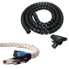 2.5M Flexible Spiral Cable Cord Power Wire Organizer Wrap with Clip Utility