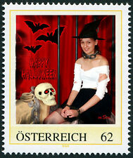 Personalized stamp halloween witch bat skull chains girl AUSTRIA 2014