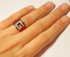 NEW 925 sterling silver enamel statement ring with white zircon