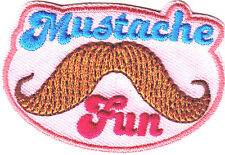 """""""MUSTACHE FUN"""" PATCH - Iron On Embroidered Patch/Trim, Fasion, Fun"""