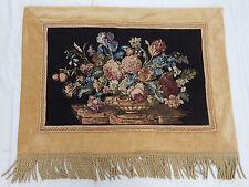 VINTAGE Francese bellissimi fiori Arazzo Appeso a Parete 83x111cm t303