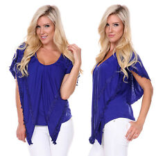 SMALL ROYAL Women's Batwing Top Dolman Casual Lace T-Shirt Blouse Long Sleeve