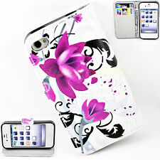 Purple Flower Flip PU Leather Stand Phone Case Cover For Apple iPhone 4 4S 4G