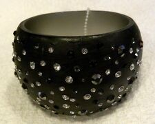 IRIS APFEL BANGLE BRACELET, BLACK WIDE BANGLE WITH MULTI CRYSTALS, NWT