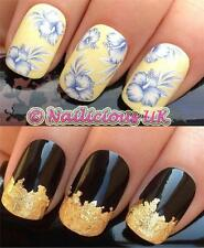 NAIL ART SET #434 WHITE/BLUE HIBISCUS FLOWER WATER TRANSFER/STICKERS & GOLD LEAF