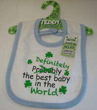 IRELAND IRISH BABY WEAR BIB WHITE & BLUE DEFINITELY THE BEST BABY IN THE WORLD