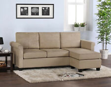 Beige Sectional Sofa Khaki Taupe Microfiber Configurable with Chaise SHIPS FREE