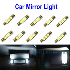 10x Xenon White 3-SMD 6641 LED fuse Bulbs For Car Sun Visor Vanity Mirror Lights