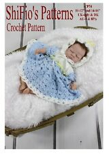 "CROCHET PATTERN for 10"" - 12"" DOLL DRESS & HAT #74 By ShiFio Patterns"