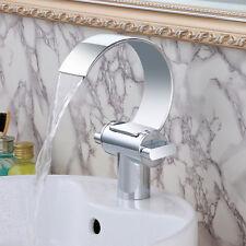 Bathroom Basin Sink Faucet Mixer Tap Brass 2 Handles Chrome Waterfall Modern