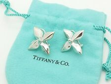 Rare Tiffany & Co Sterling Silver Large 4 Petal Clover Flower Clip On Earrings