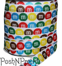 Designer 3 Yards 5/8 Print Fold Over Elastic Stretch FOE - M & M Candy White