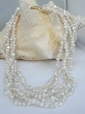 ESTATE 14KT GOLD 5 STRAND BAROQUE FRESHWATER PEARL NECKLACE 18""