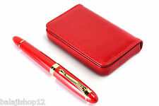 PREMIUM GIFT SET OF LEATHER ATM WALLET & JINHAO TOMATO RED DESIGNER FOUNTAIN PEN
