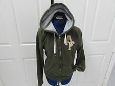 Women's Green ABERCROMBIE & FITCH Zip Up Hoodie Sz L (preown)