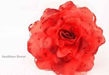 1X  Big Rose Flower Glitter Headdres Wrist  Brooch Flower Lady Holiday Party M05