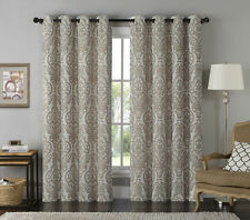 "Jacquard Window Curtain Panel: Damask Print, Mocha and Beige, 54"" x 84"""