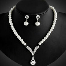 Necklace 1 Sets Pearl Jewelry Sets Earrings Fashion Women Crystal Wedding