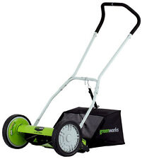 NEW! Greenworks 25052 16-Inch 5-Blade Push Reel Lawn Mower With Grass Catcher